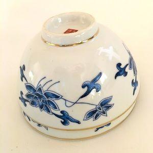 Vintage Blue&White Ceramic Rice Bowls w/Gilt Edge